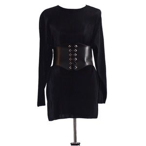 VINTAGE 'Chaus' Soft Ribbed Shirt/Dress BLACK